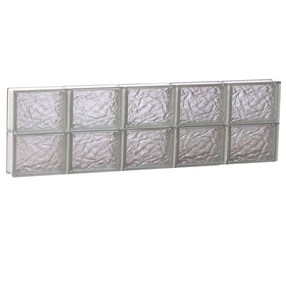 Clearly Secure 38.75 in. x 11.5 in. x 3.125 in. Frameless Ice Pattern Non-Vented Glass Block Window
