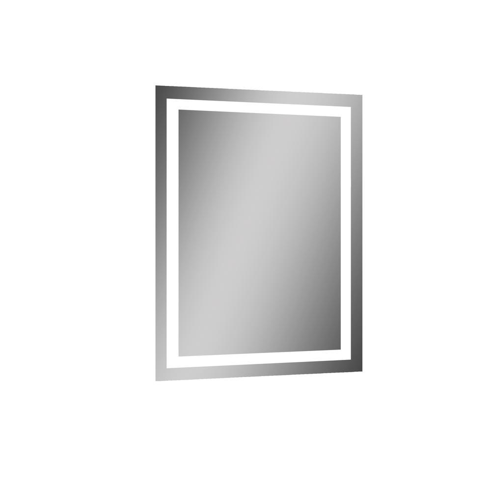 Vero 19.7 in. W x 27.5 in. H Frameless Rectangular LED Light Bathroom Vanity Mirror in Aluminum