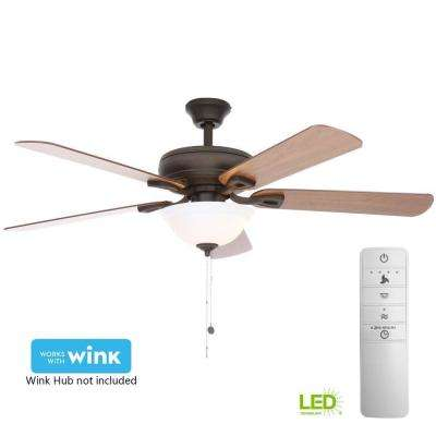 Rothley 52 in. LED Indoor Oil-Rubbed Bronze Smart Ceiling Fan with Light Kit and WINK Remote Control