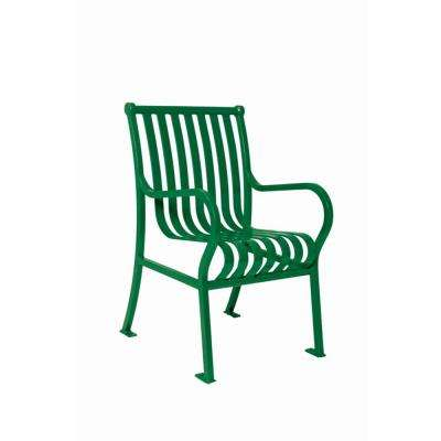 2 ft. Commercial Park Hamilton Chair in Green with Arms Surface Mount