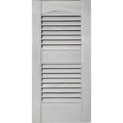 12 in. W x 25 in. H Louvered Vinyl Exterior Shutters Pair in #030 Paintable