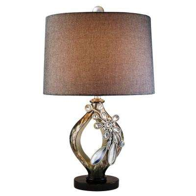 28 in. Brown with Streaks of Soft Gold Belleria Table Lamp with Crystal and Mirror Flower Accent