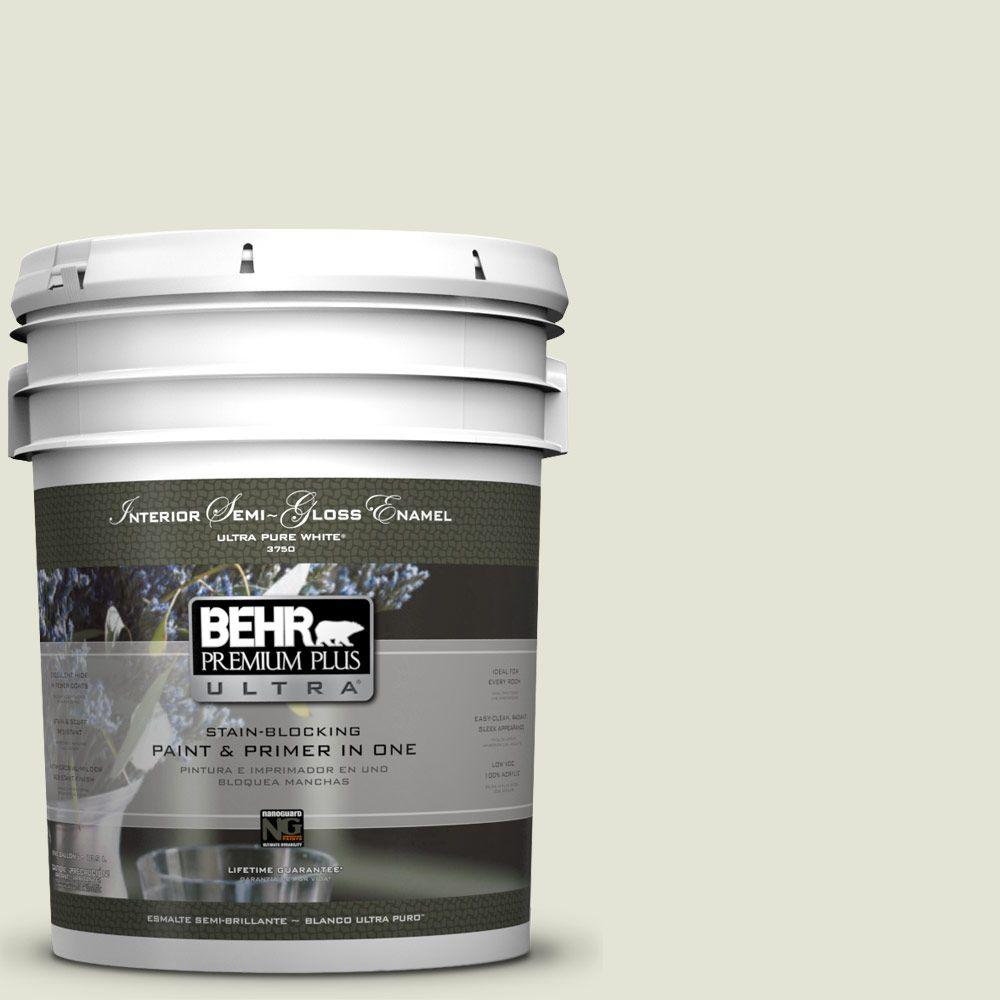 BEHR Premium Plus Ultra 5-gal. #S360-1 Yoga Daze Semi-Gloss Enamel Interior Paint
