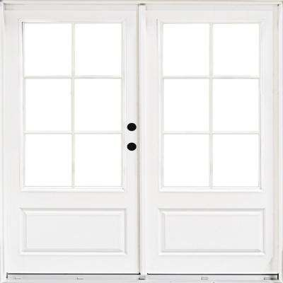 72 in. x 80 in. Fiberglass Smooth White Left-Hand Inswing Hinged 3/4-Lite Patio Door with 6-Lite SDL