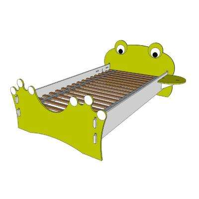 Kid's Twin Bed with Frog Design Headboard and Foot board in Lime Green and White Colors