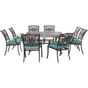 Hanover Traditions 9-Piece Aluminum Outdoor Square Patio Dining Set with Blue Cushions by Hanover