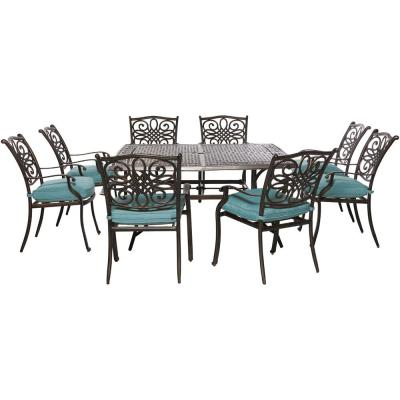 Hanover Traditions 9 pc Aluminum Outdoor Square Patio Dining Set w/ Blue Cushions