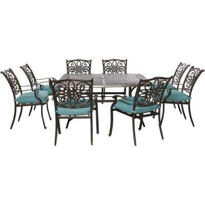 Traditions 9-Piece Outdoor Square Patio Dining Set with Blue Cushions