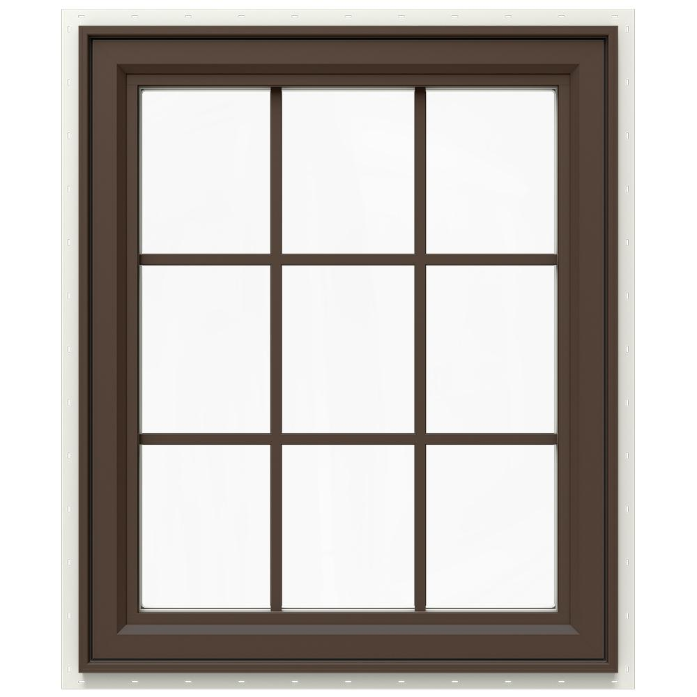 JELD-WEN 29.5 in. x 35.5 in. V-4500 Series Right-Hand Casement Vinyl Window with Grids - Brown