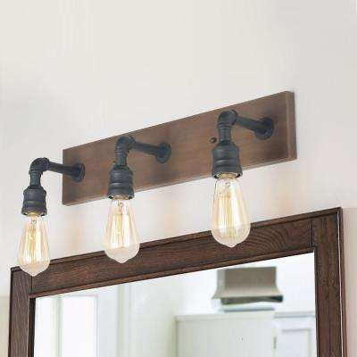 Wayner 3-Light Black Modern Farmhouse Bathroom Vanity Light Water Pipe Wall Sconce with Painted Walnut Wood Accents