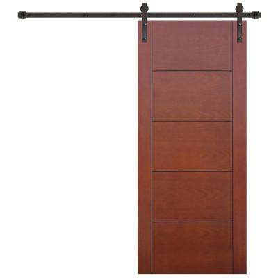 30 in. x 80 in. 5-Panel Prefinished Flush Mahogany Wood Barn Door with Bronze Sliding Door Hardware Kit