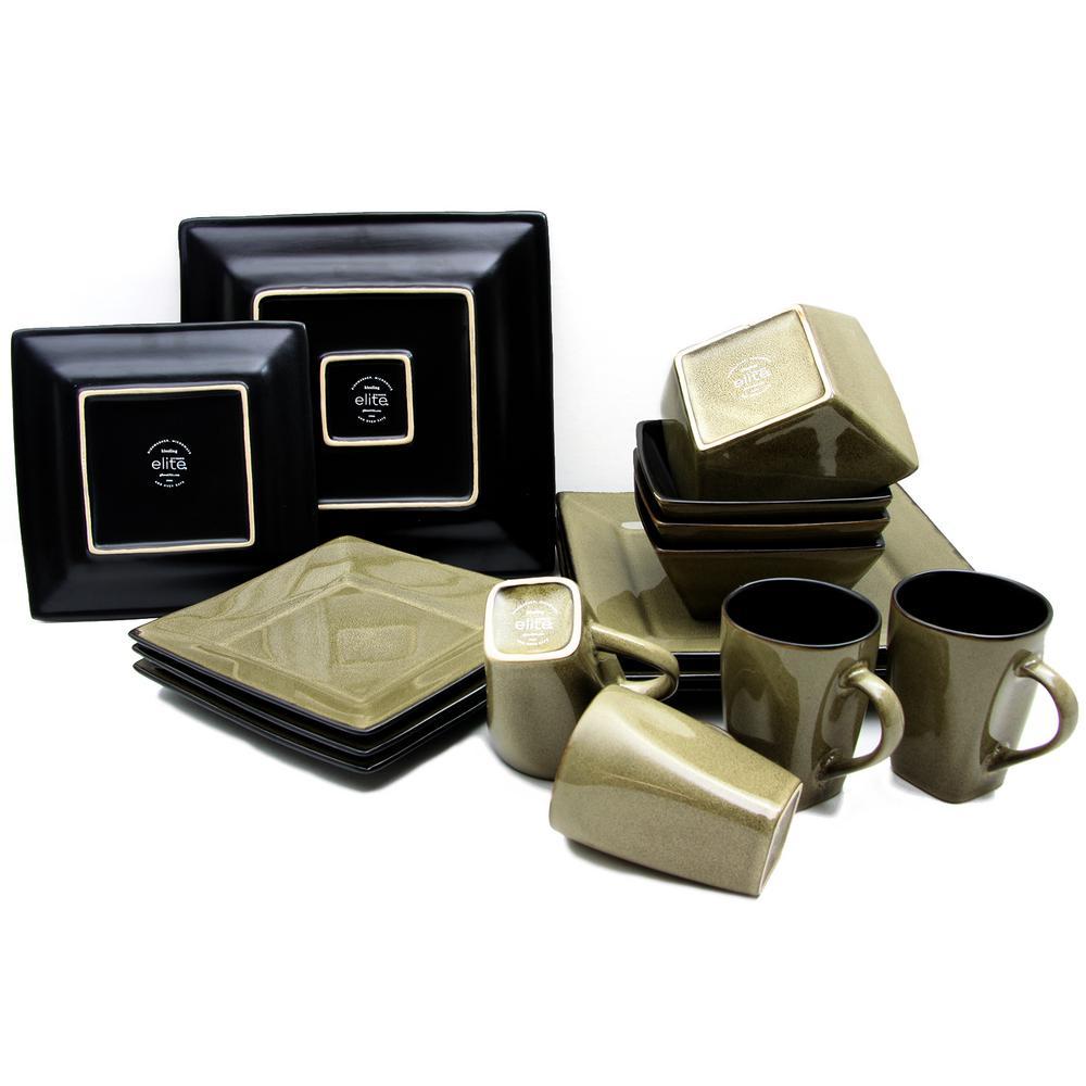 Kiesling 16-Piece Taupe Hard Square Dinnerware Set, Tan