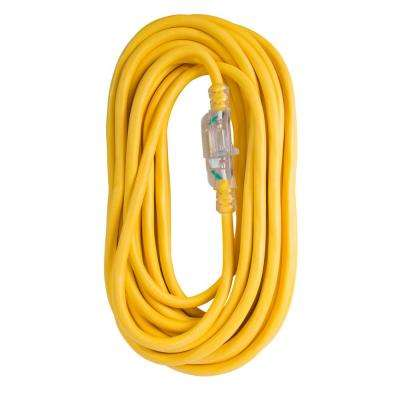 100 ft. 12/3 SJTW 15 Amp/125-Volt Outdoor Single Receptacle Extension Cord, Yellow