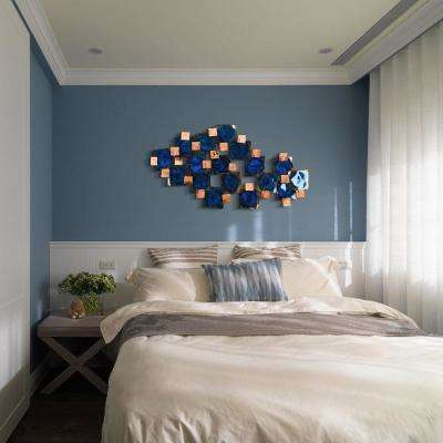 """26 in. x 51 in. """"Mesh"""" Hand Painted Etched Metal Wall Sculpture"""