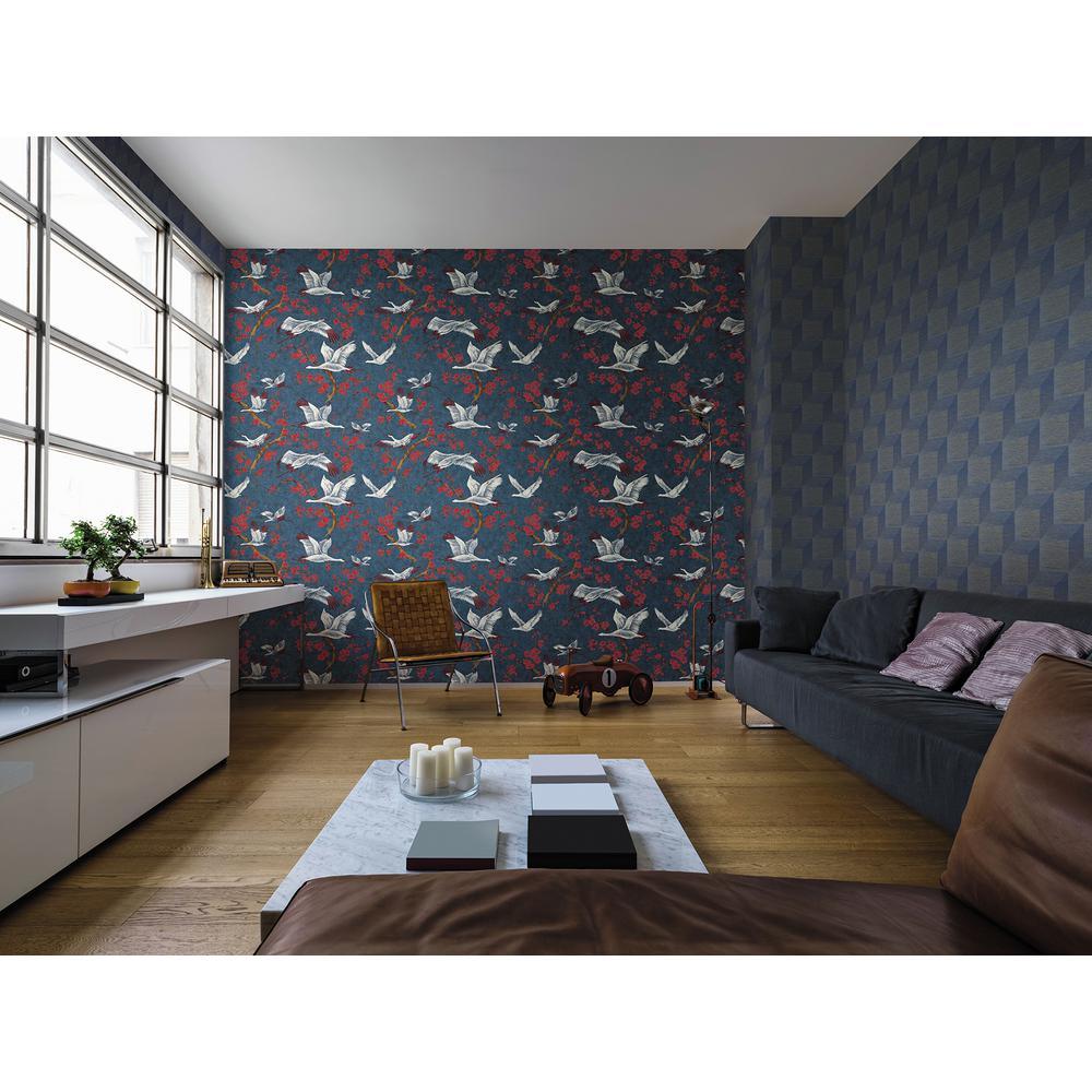Airone Multicolor Crane Wallpaper Sample