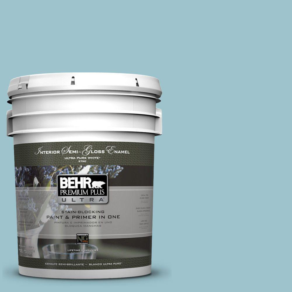 BEHR Premium Plus Ultra 5-gal. #ICC-99 Alluring Blue Semi-Gloss Enamel Interior Paint