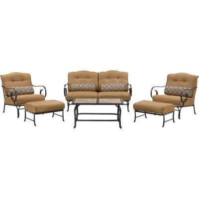 Oceana 6-Piece Patio Seating Set with a Tile-Top Coffee Table and Country Cork Cushions