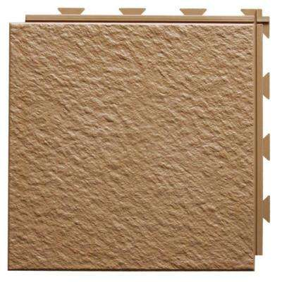 Hiddenlock Slate Top Brown 12 in. x 12 in. x 1/4 in. PVC Plastic Interlocking Basement Floor Tile (Case of 20)