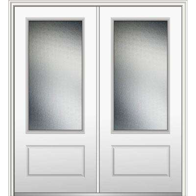 72 in. x 80 in. Micro Granite Right-Hand Inswing 3/4-Lite Decorative Painted Fiberglass Smooth Prehung Front Door