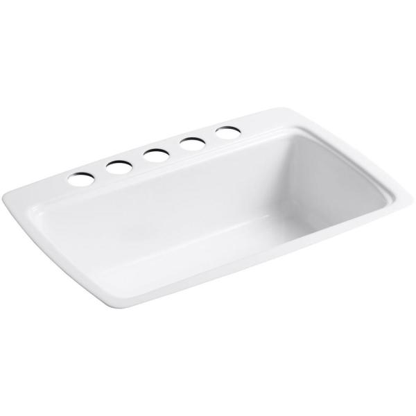 Cape Dory Undermount Cast Iron 33 in. 5-Hole Single Bowl Kitchen Sink in White