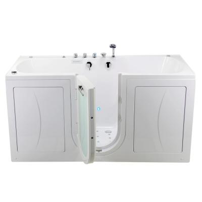 80 in. Big4Two Walk-In Whirlpool, Air, Foot Massage Tub in White, Outward Swing Door, Faucet, Heated Seat, Dual Drain