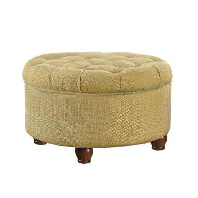 Round Tan and Cream Tweed Tufted Storage Ottoman