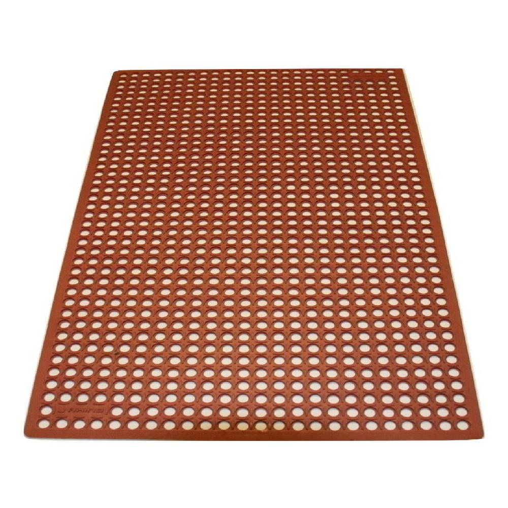 Rhino Anti-Fatigue Mats K-Series Comfort Tract Red 3 ft. x 10 ft. x 1/2 in.  Grease-Proof Rubber Kitchen Mat