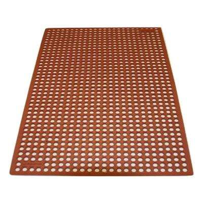 K-Series Comfort Tract Red 3 ft. x 5 ft. x 1/2 in. Grease-Proof Rubber Kitchen Mat