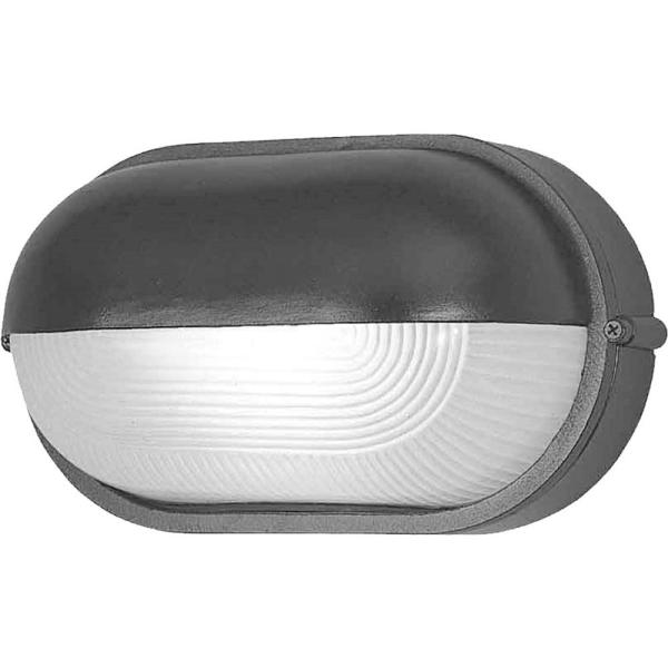 Small 1-Light Black Aluminum Outdoor Flush Mount Ceiling Fixture/Wall Mount Sconce Frosted Ribbed Glass Half Oval Sphere