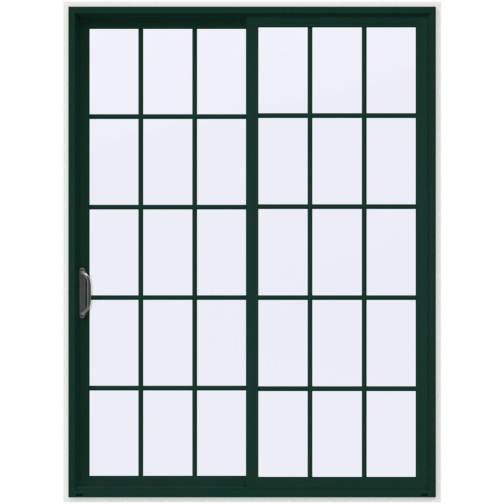 72 in. x 96 in. V-4500 Hartford Green Prehung Left-Hand Sliding 15 Lite Vinyl Patio Door with White Interior
