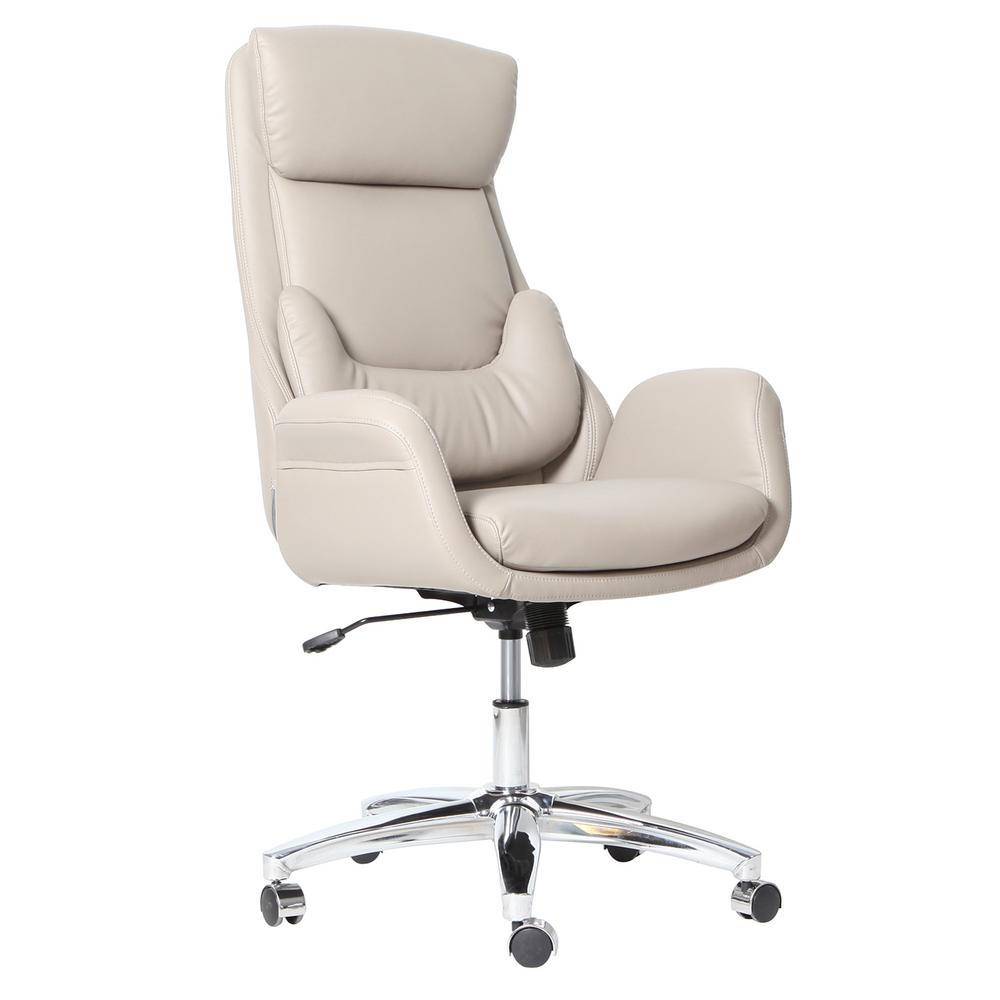 Techni Mobili Beige Ergonomic Home Office Executive Chair with ...