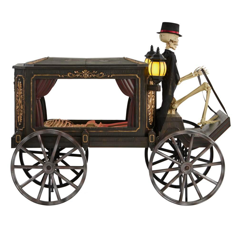 5 ft. Animated LED Haunted Hearse with Skeleton