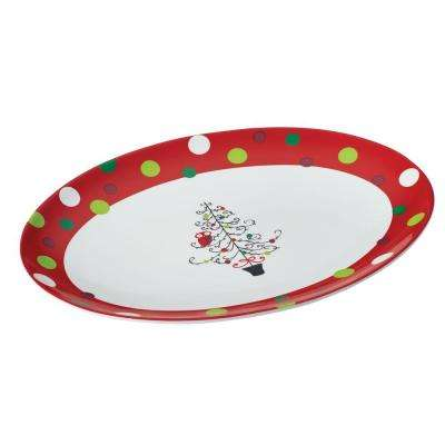 Dinnerware Hoot's Decorated Tree 10 in. x 14 in. Oval Platter in Print