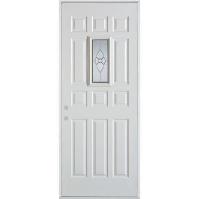 32 in. x 80 in. Traditional Brass Rectangular Lite 12-Panel Painted Right-Hand Inswing Steel Prehung Front Door