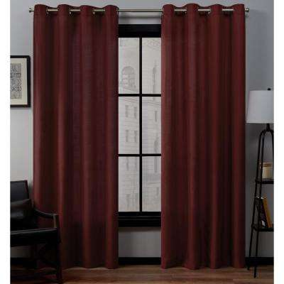 Loha 54 in. W x 96 in. L Linen Blend Grommet Top Curtain Panel in Radiant Red (2 Panels)