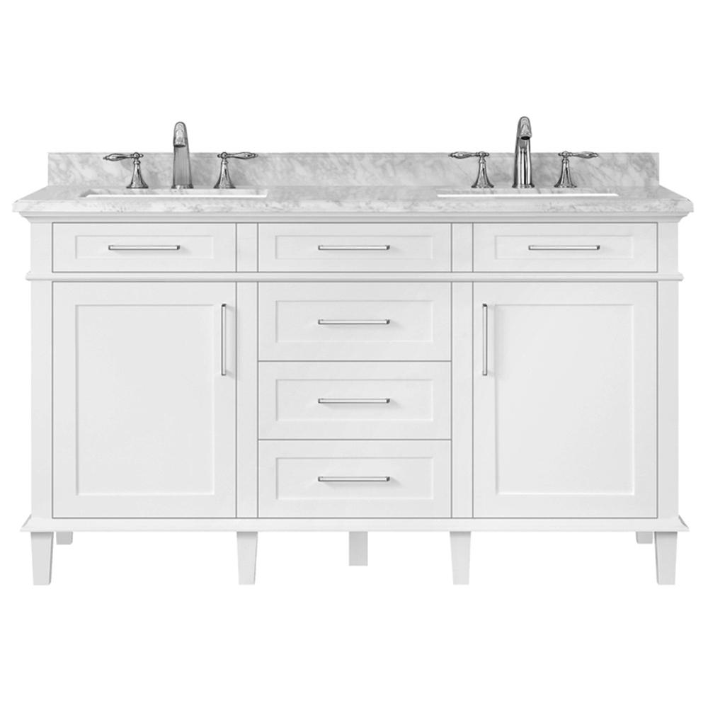 Home Decorators Collection Sonoma 60 In W X 22 In D Double Bath Vanity In White With Carrara Marble Top With White Sinks