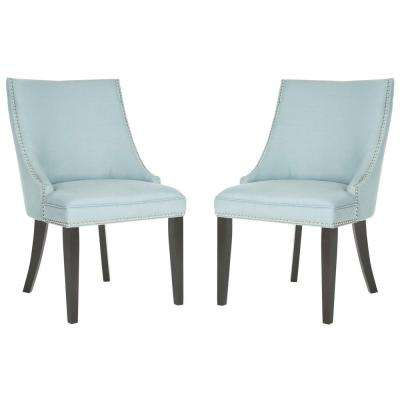Afton Light Blue/Espresso Cotton/Linen Side Chair (Set of 2)