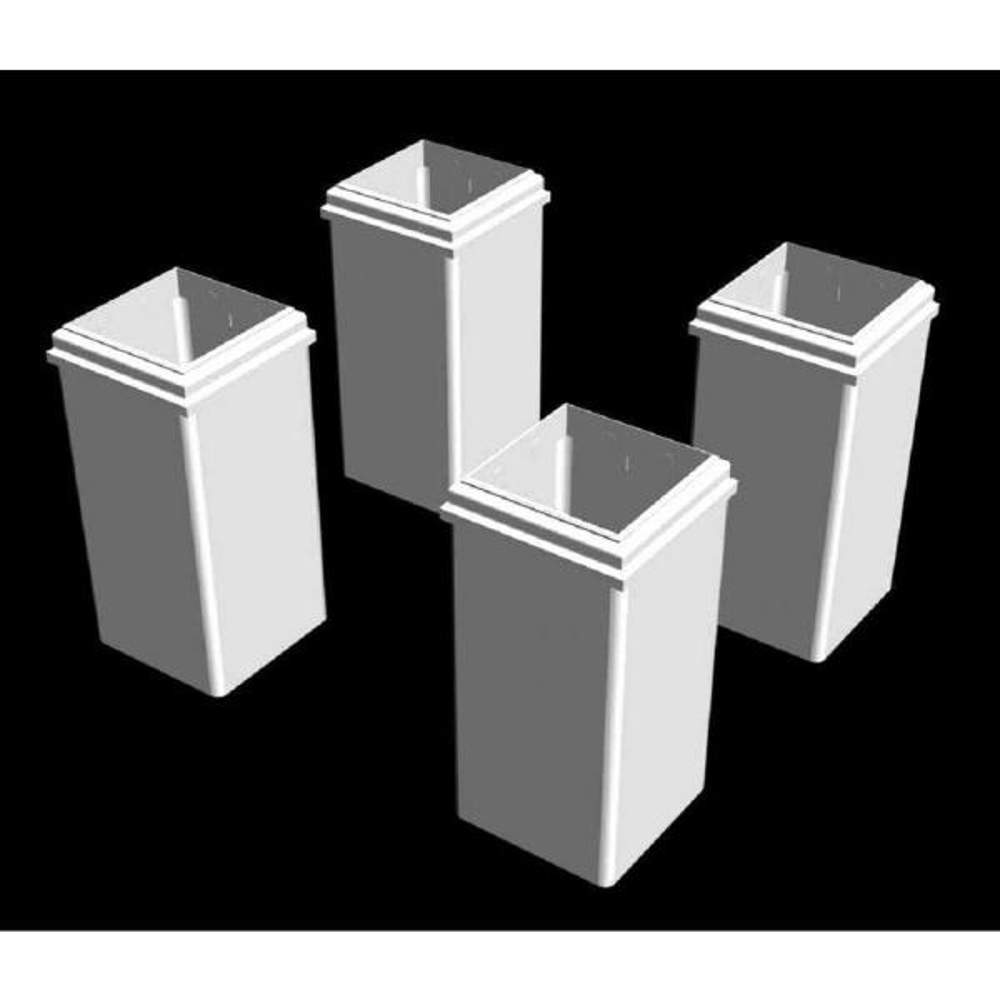 8 in. White Vinyl Short Base Molds (4-Pack)