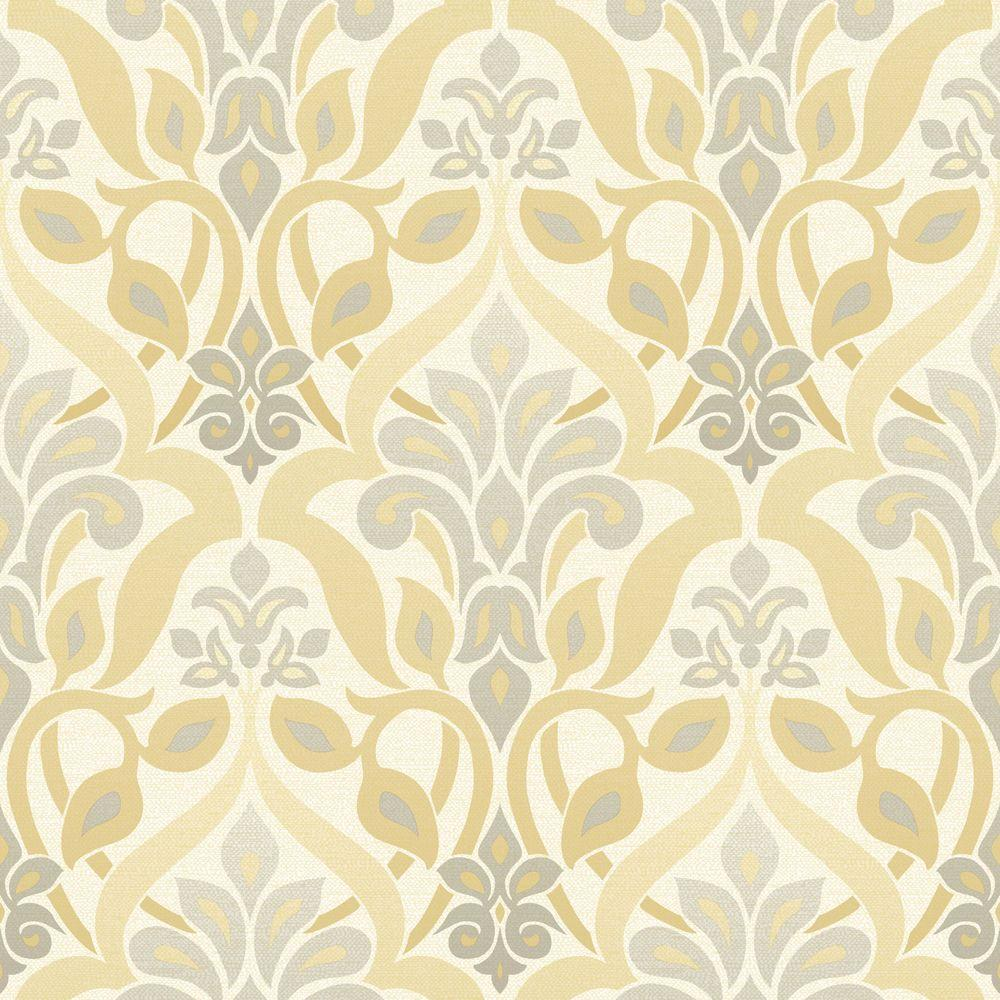 Beacon House Fusion Yellow Ombre Damask Wallpaper Sample 2535