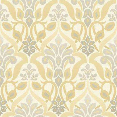 Fusion Yellow Ombre Damask Wallpaper Sample