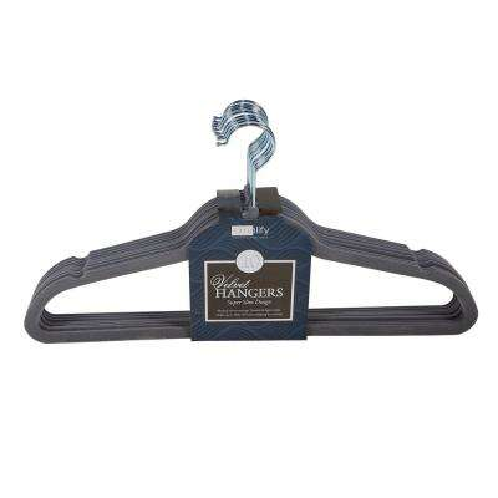 Grey Super Slim Velvet Huggable Hangers (10-Pack)