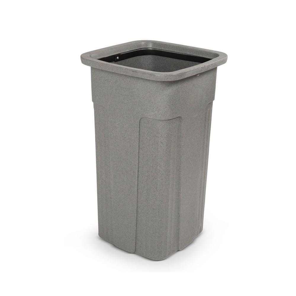 Slimline 25 Gal. Graystone Square Trash Can