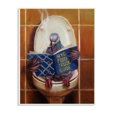 "10 in. x 15 in. ""Pigeon Smoking on the Toilet Reading Funny Painting"" by Duy Huynh Wood Wall Art"