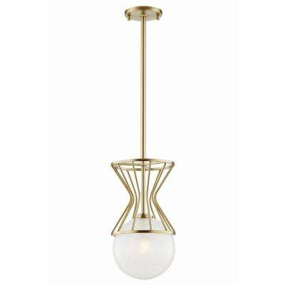 Petra 1-Light Aged Brass Pendant with Clear Crackel Glass Shade