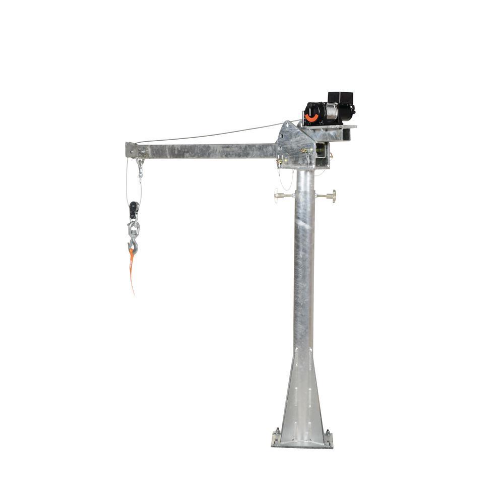 2,000 lb. 4 ft. to 7 ft. Galvanized DC Powered Adjustable Boom Lift Jib Crane