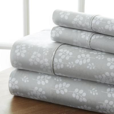4-Piece Gray Floral Microfiber King Sheet Set