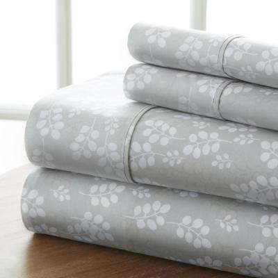 Wheat-Field Patterned 4-Piece Gray Queen Performance Bed Sheet Set