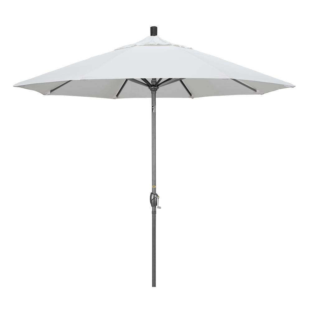 California Umbrella 9 ft. Hammertone Grey Aluminum Market Patio Umbrella with Push Button Tilt Crank Lift in White Olefin
