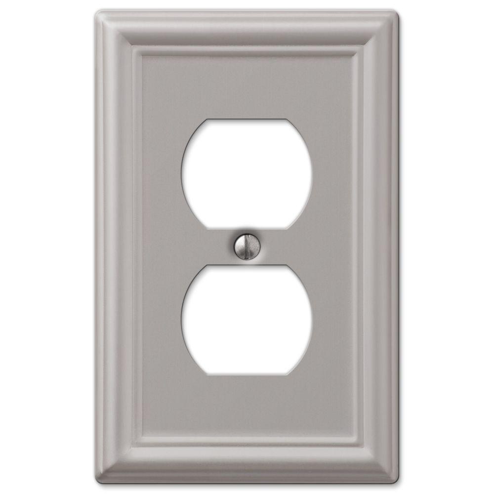 Ascher 1 Duplex Outlet Plate in Brushed Nickel Steel (2-Pack)