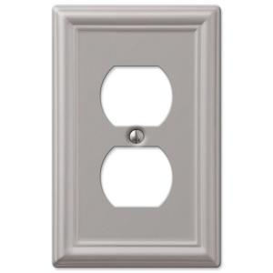 Outlet Plates Hampton Bay Ascher 1 Duplex Outlet Plate  Brushed Nickel Steel